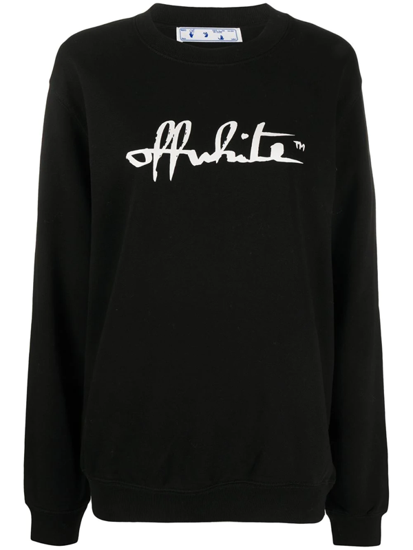 Off-white Logo Detail Cotton Sweatshirt In Black