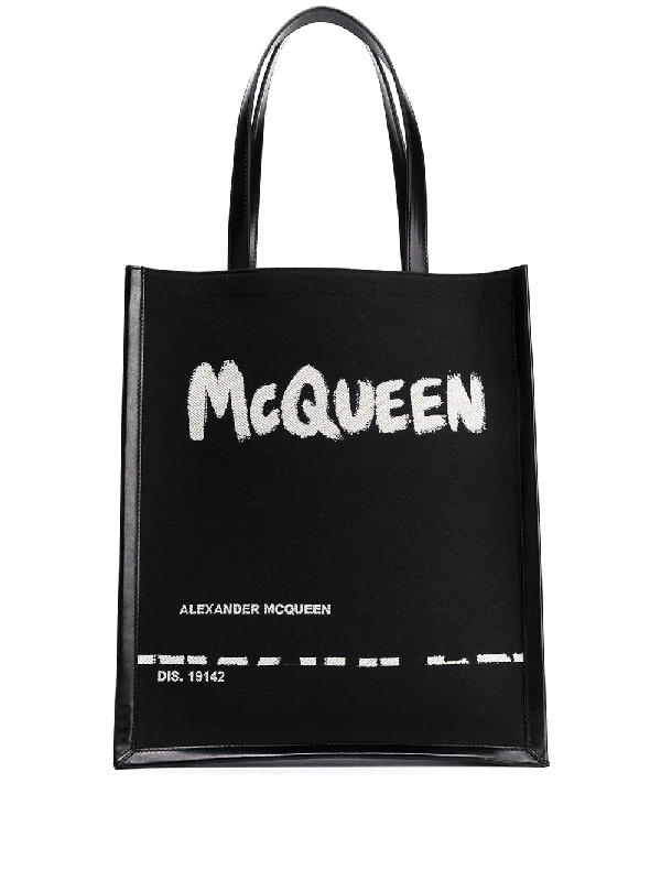 Alexander Mcqueen Graffiti Logo-print Canvas And Leather Tote In Black