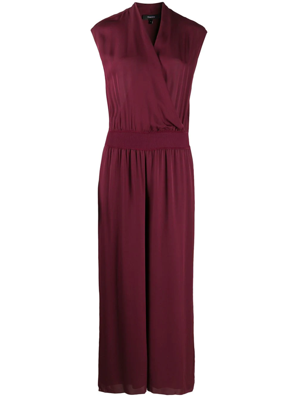 Theory Cropped Wrap-effect Silk Crepe De Chine Jumpsuit In Burgundy
