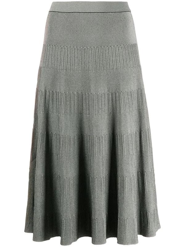 Theory Ribbed-knit Midi Skirt In Gray