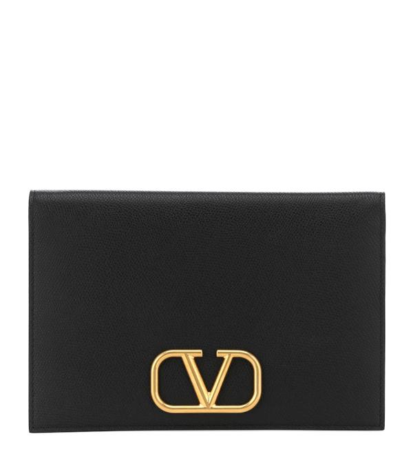 Valentino Garavani Vlogo Leather Pouch In Black