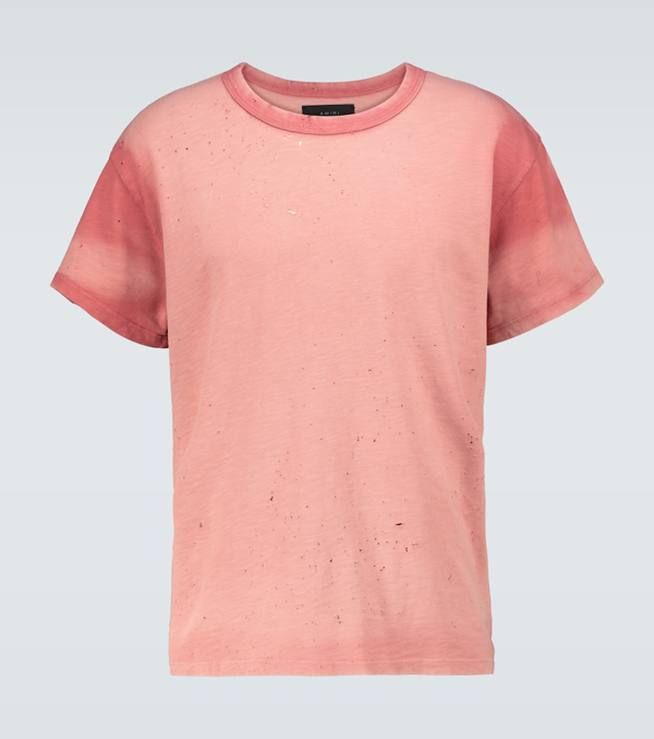 Amiri Washed Shotgun T-shirt In Rose-pink Cotton