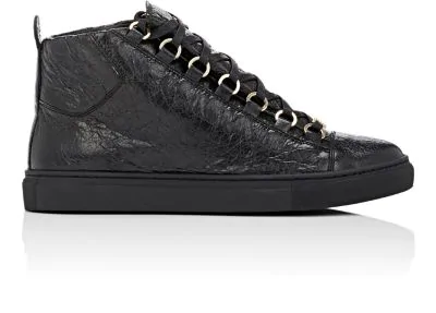 Balenciaga Arena Leather High-Top Sneakers In Black