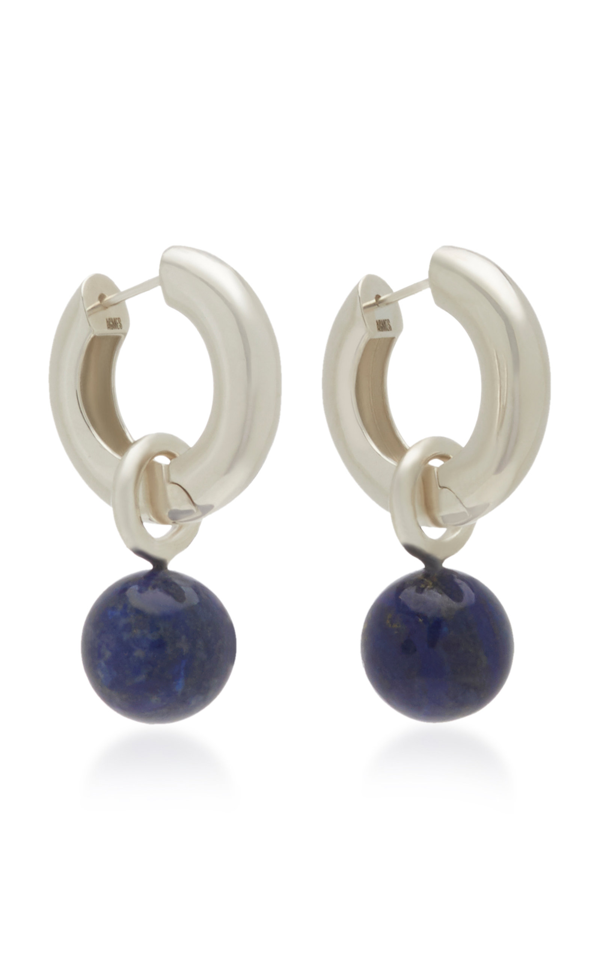 Agmes Sterling Silver And Lapis Earrings In Blue