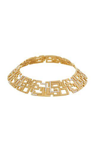 Leda Madera Goldie Crystal-embellished Gold-plated Brass Necklace