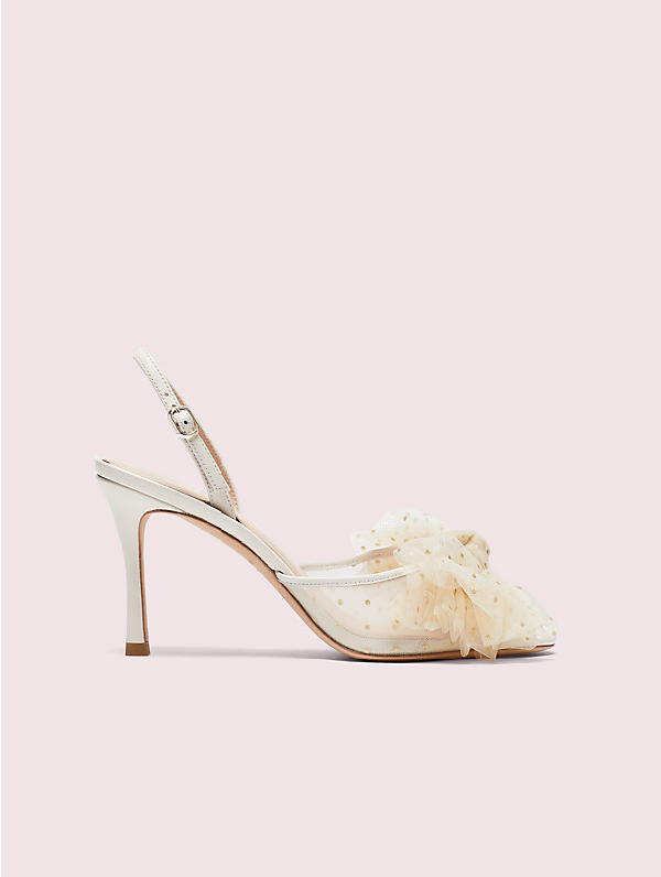Kate Spade Bridal Sparkle Tulle & Leather Slingback Sandals In Parchment