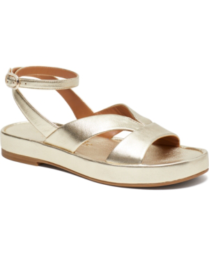 Kate Spade Marshmallow Metallic Leather Flatform Sandals In Pale Gold