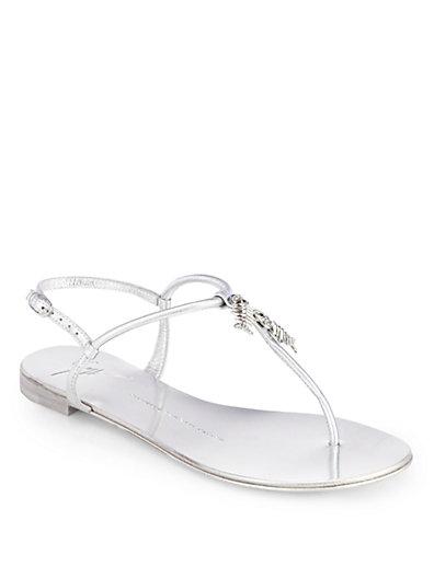 Giuseppe Zanotti Metallic Leather Fish-Detail Thong Sandals In Bianco