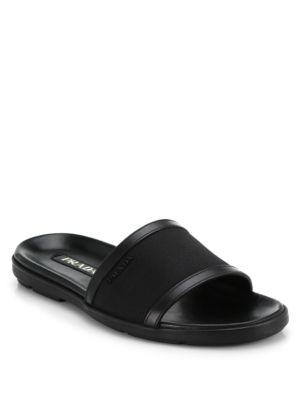 Prada Nylon Slide Sandals In Black