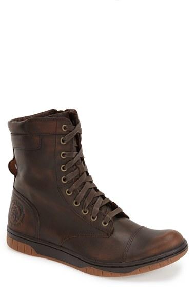 Diesel Men's Tatradium S-boulevard Leather High Top Sneakers In Coffee Bean
