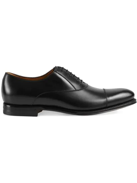 Gucci Brogue Shoes Smooth Spirit Oxford Shoes With Elongated Toe In Black