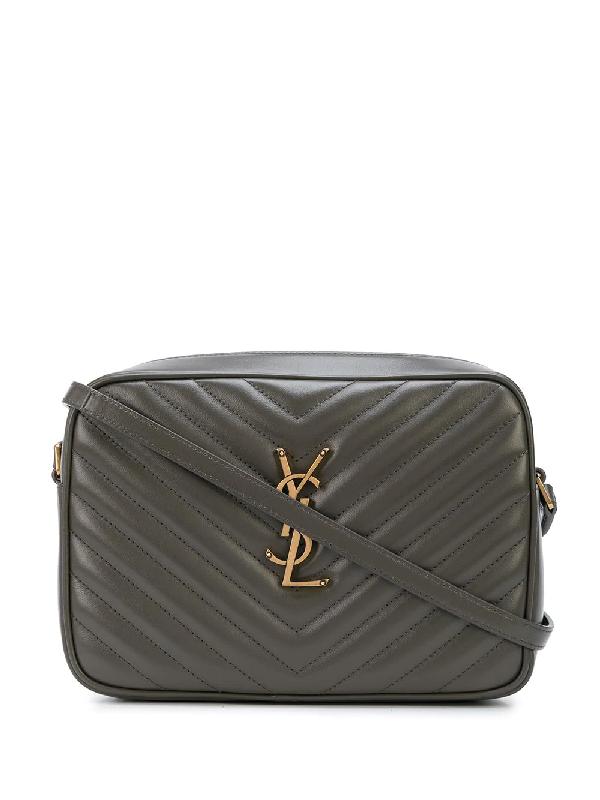 Saint Laurent Lou Leather Camera Bag In Grey
