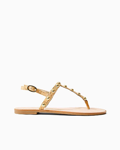 Lilly Pulitzer Largo T-strap Gold Sandal In Natural