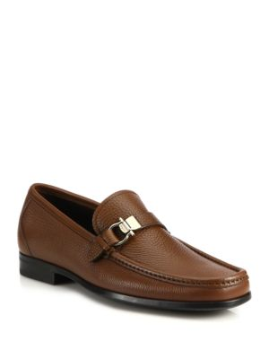 Salvatore Ferragamo Muller Bit Leather Loafers In Brown