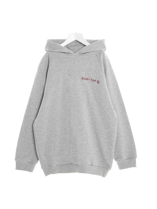 Gucci Kids' Punk Print Logo Hoodie In Grey