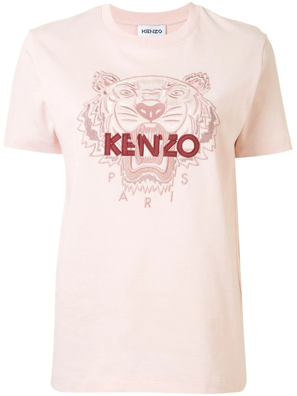 Kenzo Tiger Embroidered T-shirt In Pink