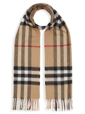 Burberry Kids' Women's The Classic Check Cashmere Scarf In Beige