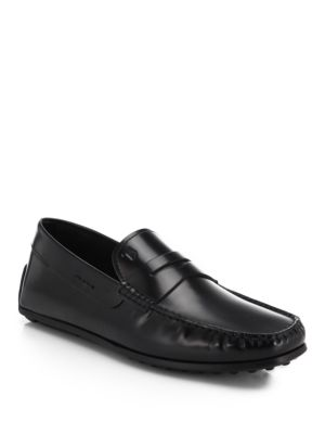 Tod's Leather Gomma Spider Loafers In Black