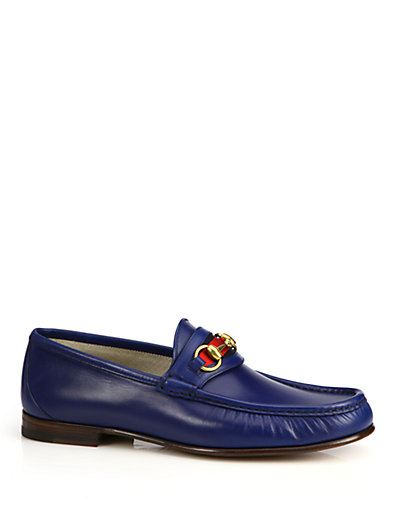 Gucci Leather Horsebit Loafers In Royal-blue