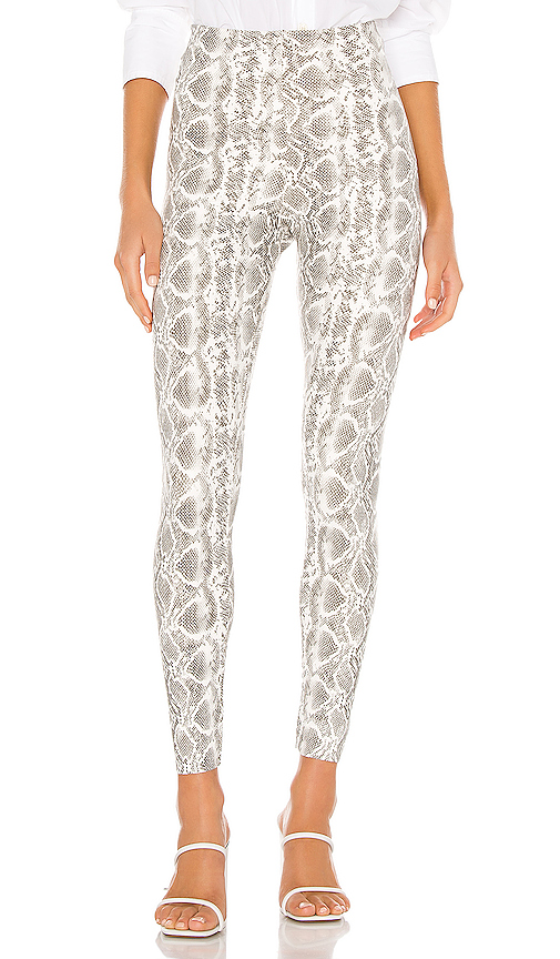 Commando Perfect Control Faux Leather Animal Leggings In White Snake