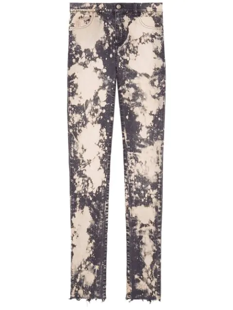 Gucci Embroidered Stretch Denim Skinny Pant In Pink