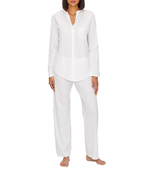 Hanro Cotton Deluxe Long Pajama Set In White