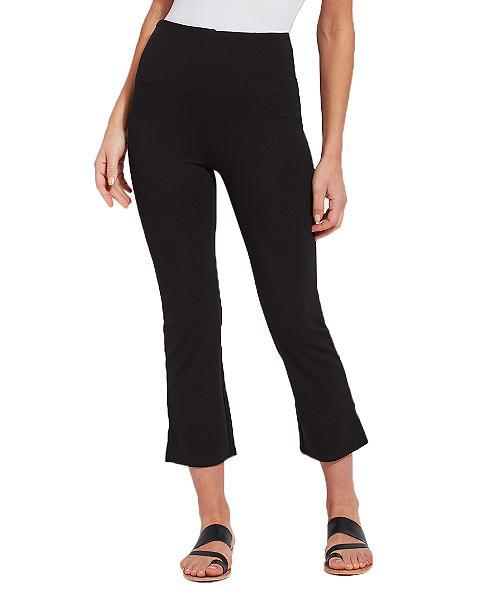 Lyssé Medium Control Cropped Kick Flare Ponte Pants In Black