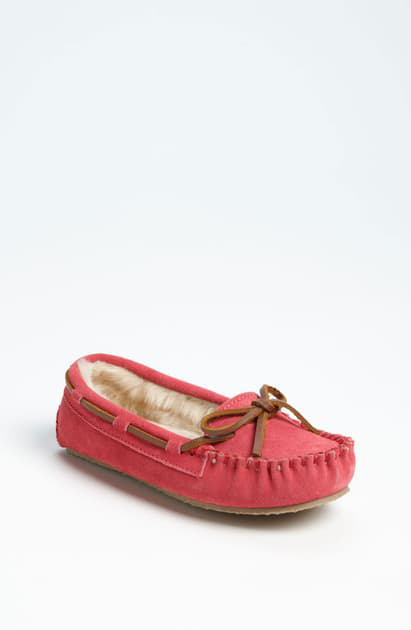 Minnetonka Kids' Toddler Girls Cassie Slipper In Hot Pink