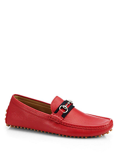 Gucci Horsebit Webbing-trimmed Grained-leather Driving Shoes In Red Leather