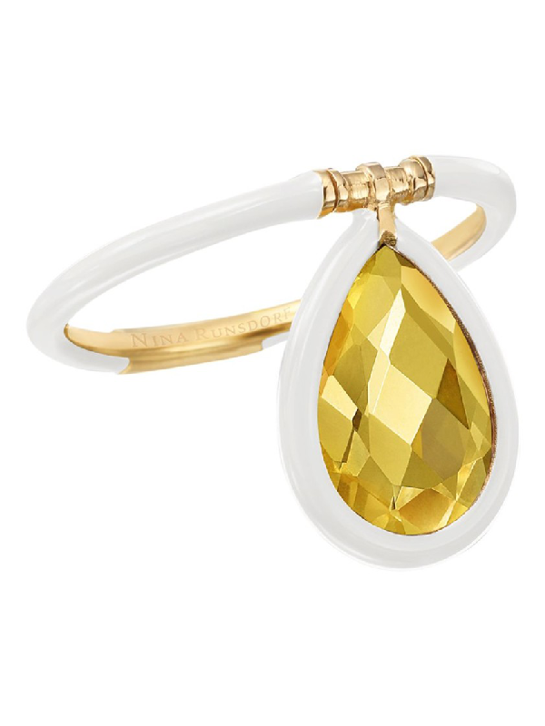 Nina Runsdorf The Artist Medium White Flip Ring In Gold