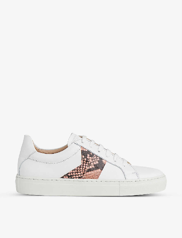 Lk Bennett Alivia Snakeskin Print Leather Trainers