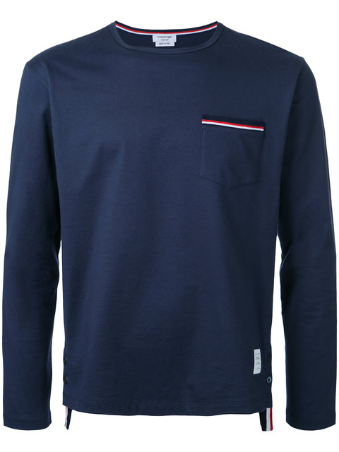 Thom Browne Long-sleeved T-shirt In 415 Navy