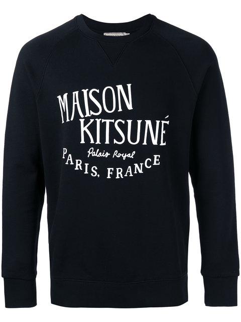 Maison KitsunÉ Crew-Neck Logo-Print Cotton Sweatshirt In Black