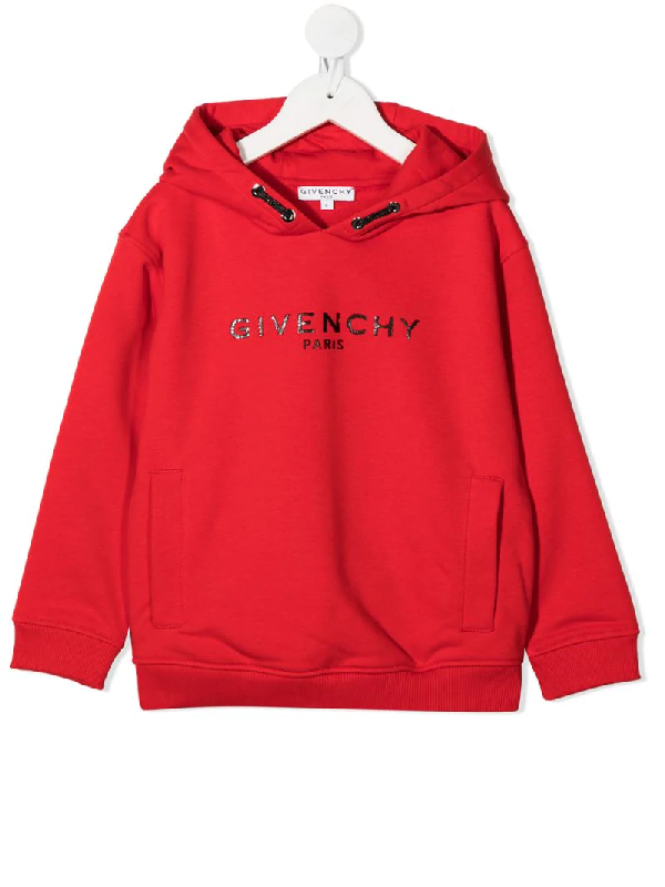 Givenchy Teen Distressed Logo Hoodie In Red