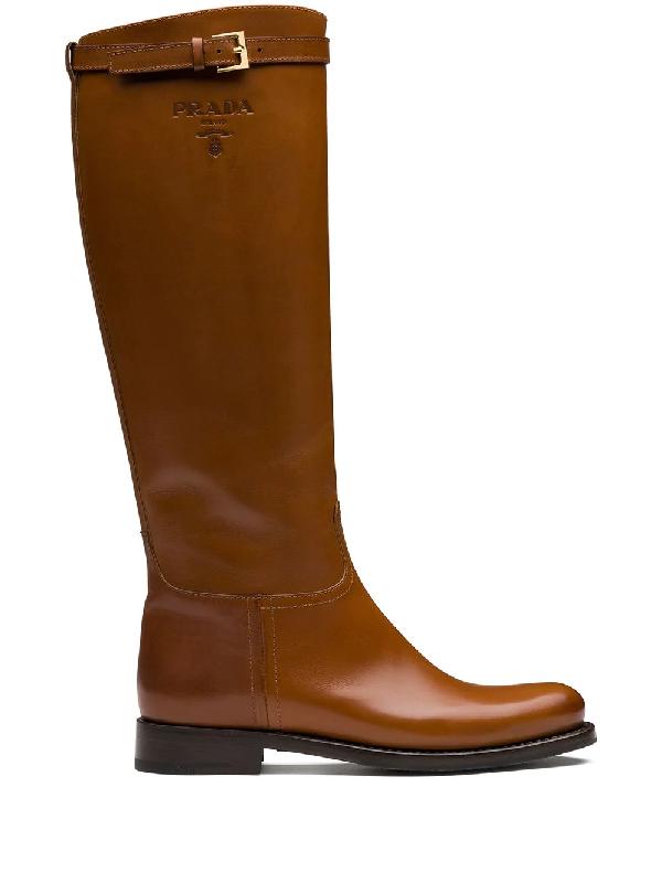 Prada 30 Logo-embossed Leather Knee Boots In Tan