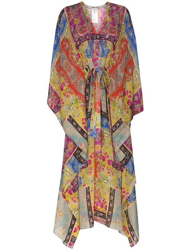 Etro Burguete Printed Silk-georgette Kaftan In Multicolour