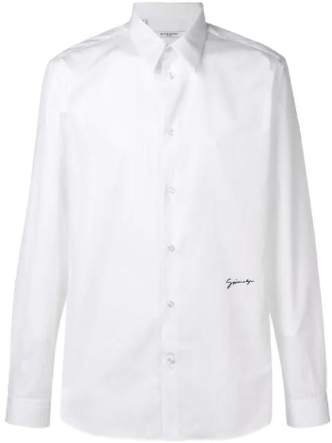 Givenchy Logo-embroidered Cotton Shirt In 116 Wht/blk