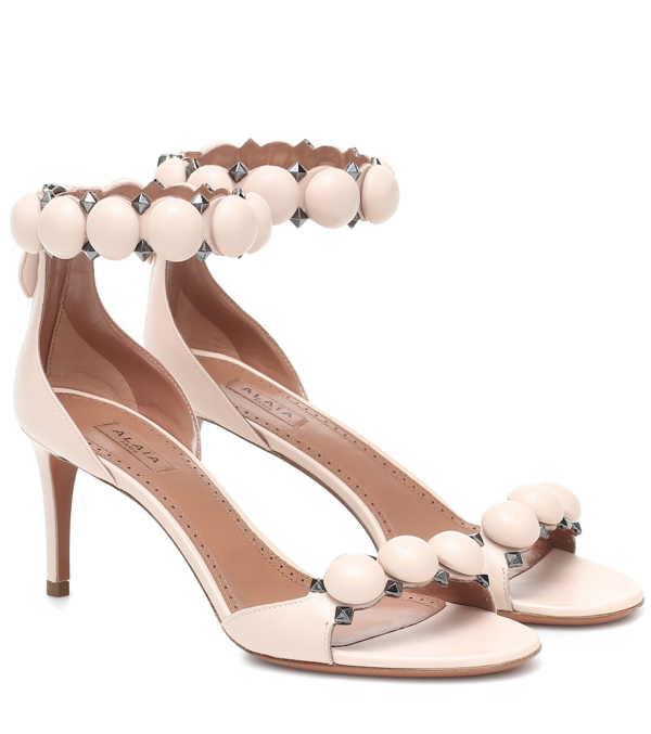 Alaïa Women's Bombe Ankle-strap Leather Sandals In Pink
