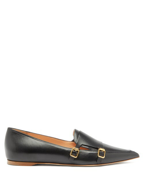Rupert Sanderson Niwin Point-toe Leather Monk Shoes In Black