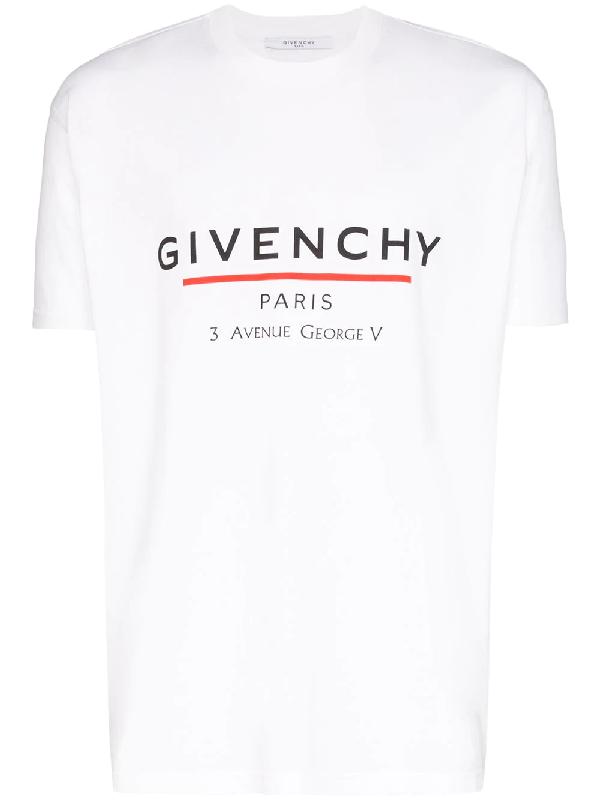 Givenchy White Oversized Label T-shirt