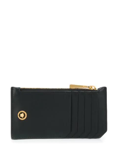 Versace Logo Leather Zip Card Holder In Black