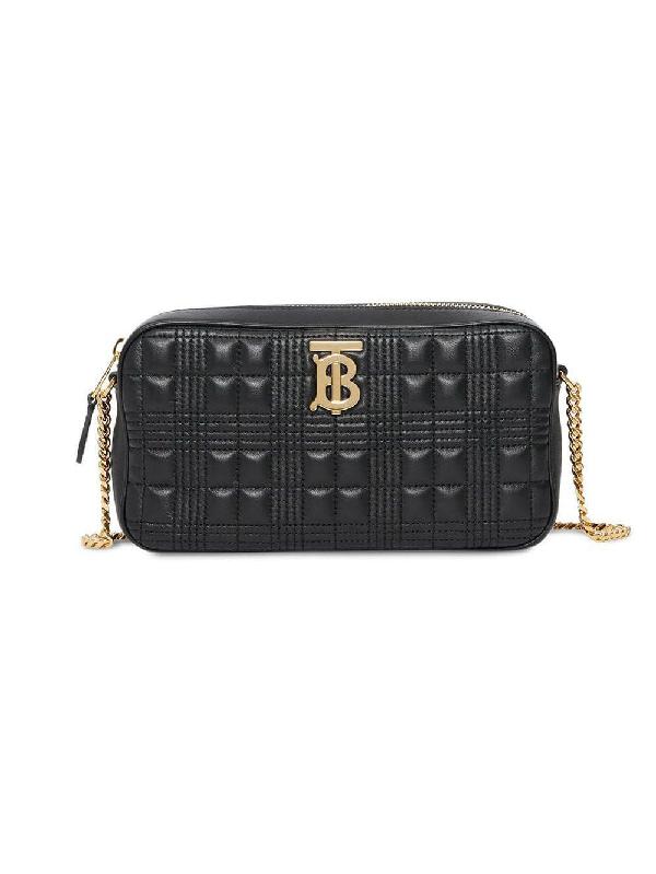 Burberry Lambskin Camera Shoulder Bag In Black
