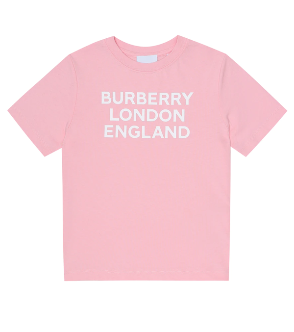 Burberry Kids' Logo Printed Cotton T-shirt In Pink