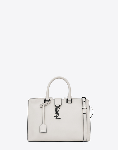 Saint Laurent Small Monogram Cabas Bag In Dove White And Black Leather