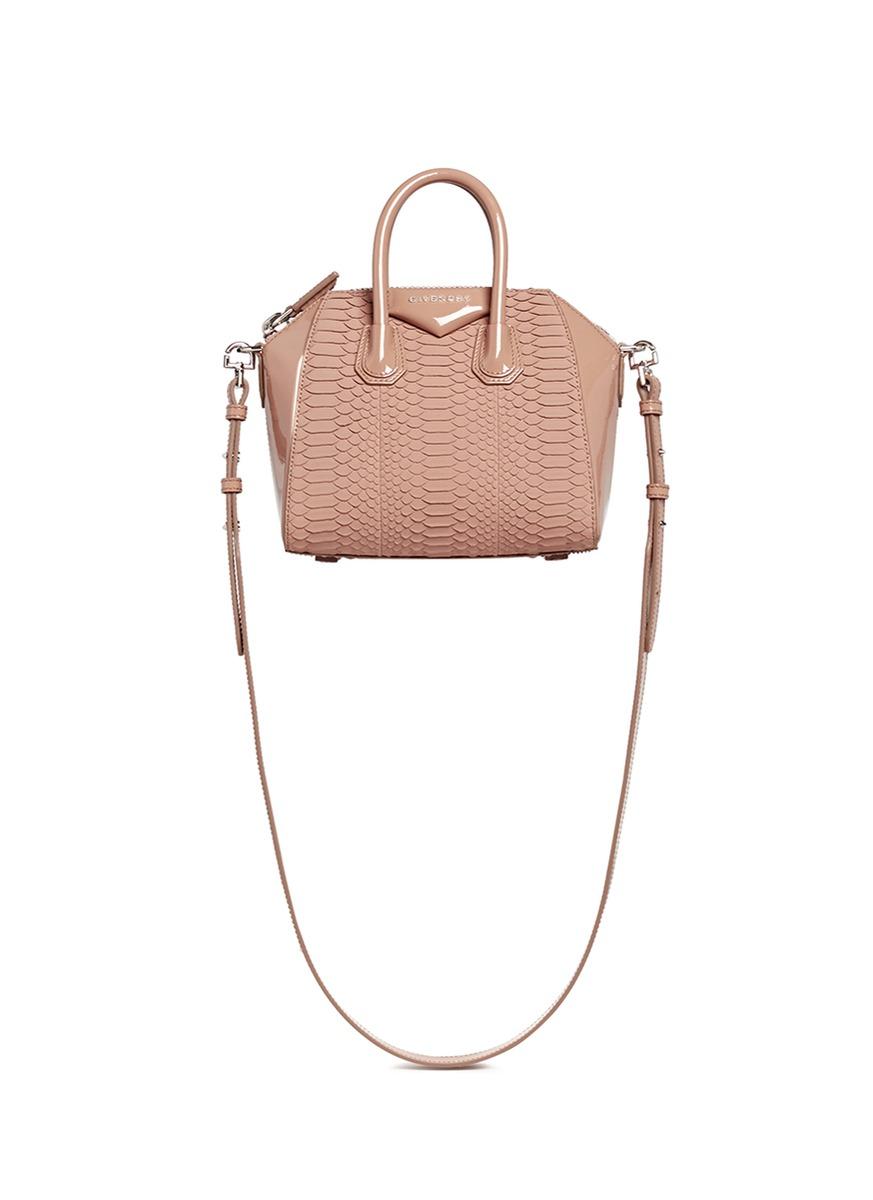 549df0ac2f Givenchy  Antigona  Mini Python Panel Patent Leather Bag