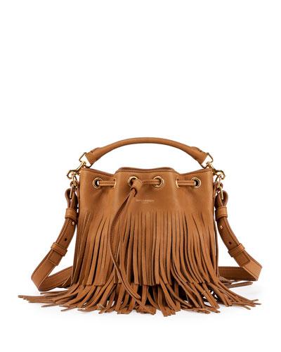 8dac3c849a Saint Laurent Emmanuelle Small Suede Fringe Bucket Bag | ModeSens