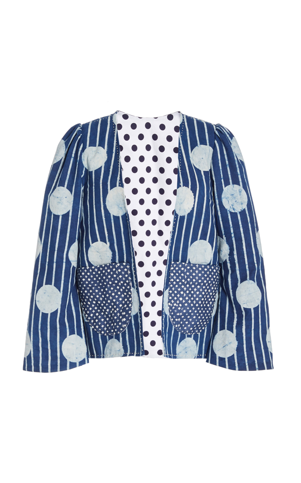 Alix Of Bohemia Momo Striped Cotton Jacket In Blue