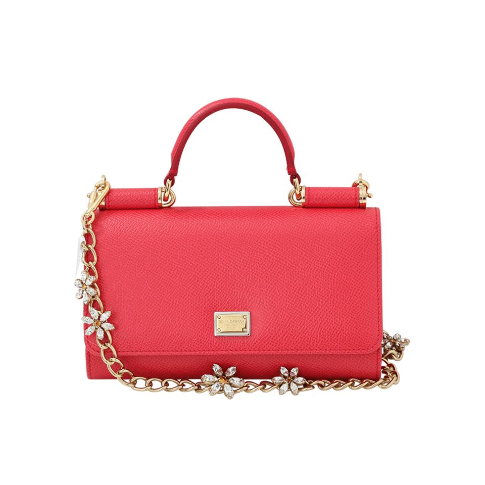 Dolce & Gabbana Sicily Von Crystal Belt And Wallet In Ibiscus