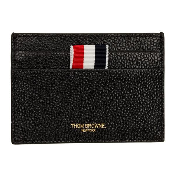 Thom Browne Pebbled Leather Card Holder In Black
