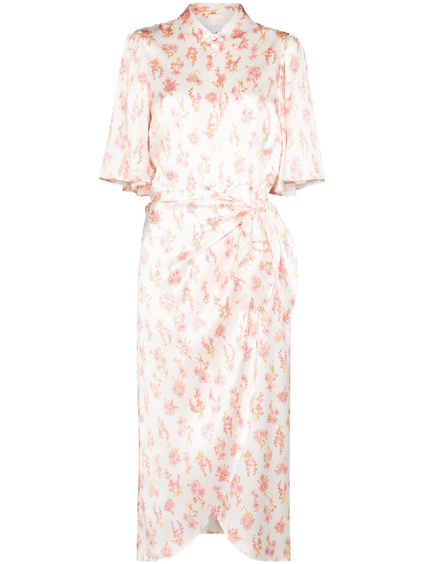 Les Rêveries Les Reveries White Silk Floral Wrap Shirt Dress